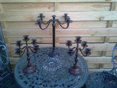 Lot of three French five-armed candlesticks.