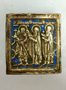 "18th Century Rare Antique Russian Bronze & Blue Enamel Travel Icon of ""St. Simon, Gurii & Aviv"""