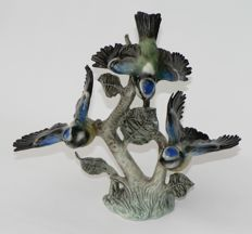 Great tit, birds, with spread wings - Goebel porcelain, rare piece