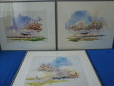 Three aviation water colour art works by the artist Nenad Karpov