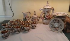 "Rare and unique vintage tea service for 12 ""Capodimonte""  with embossed gold women decorations"
