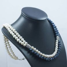 Double-strand sterling silver necklace  of pearls cultivated in fresh water and Bohemian pearls - Length: 61 cm