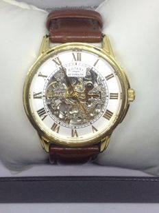 Rotary Mens Automatic  Brown Leather Strap Skeleton Dial Watch gs03862/01