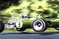 Jim Clark Lotus 49 F1 Race Car Formula 1 1968 ORIGINAL Oil Painting on Canvas hand-made by Artist Andrea Del Pesco + COA.