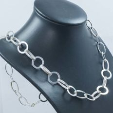Italian design Grecca necklace in 925 silver. 65 cm