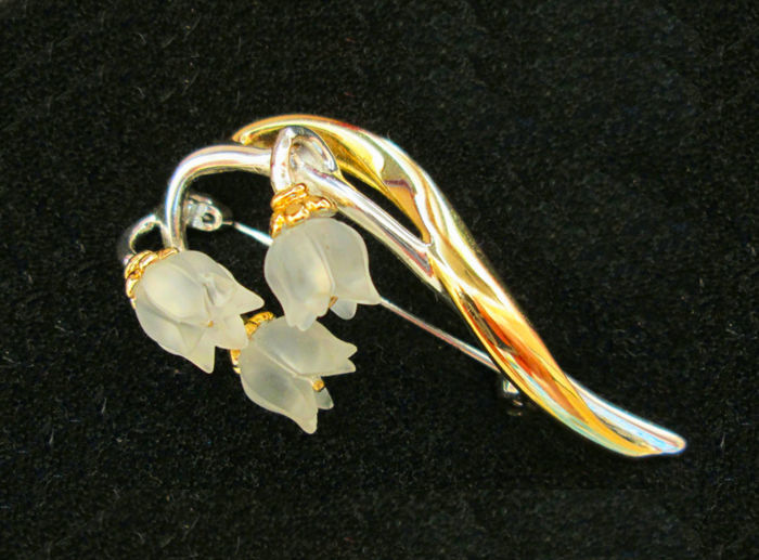 Brooch little bell flowers with rock crystal made of 925 silver plated with 585 gold / 14 kt