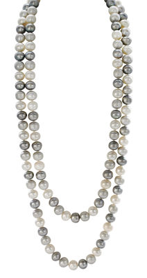 Long White and Grey Freshwater Pearlnecklace with Authenticity Certificate, L 120cm