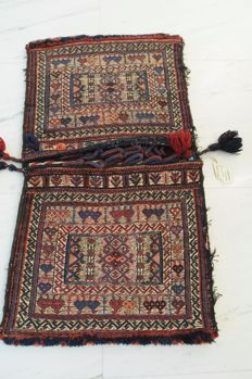 Lovely Double Saddle Bag (Khorjin), Kordi-Bachtiar, antique, ca. 100 x 53 cm