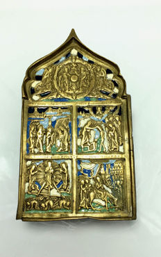 Russian Travel bronze enamel icon, ca. 1780/1820