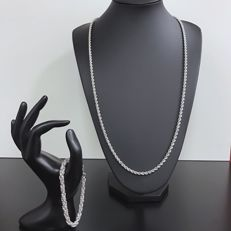 Silver set, Necklace and Bracelet 925 - 80 cm + 19 cm - 38 g