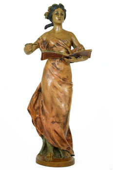 after A. Moreau - Large bronze sculpture of Lady with pen and book, 20th century