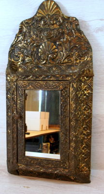 Wooden brush cabinet with mirror covered in brass, Netherlands, first half 20th century