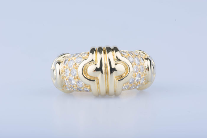 Bague en or jaune 18 ct 24 diamants env. 1,20 ct - Taille: EU: 49 US: 4 3/4