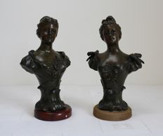 After Mestais - two spelter lady figures