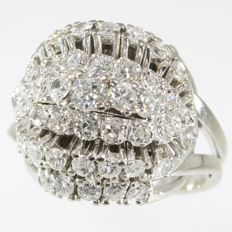 Stunning diamond ( 1,74 ct) gold cocktail ring - anno 1960