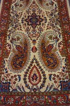 -Exclusive- -Persian carpet- -Bote  Qom- -cork wool- -very good condition- -65X125cm- -made in Iran