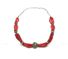 Red dyed multi-strand coral necklace
