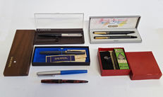 Inox chrome pen and fountain pen set & Parker fountain pen & Sheaffer fountain pen, fountain pen and pen unmarked & Antique stamp and box of ink