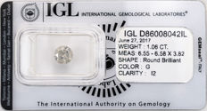 1.06 ct brilliant cut diamond  G  I2