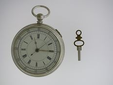 Steel chronograph pocket watch Swiss 1870