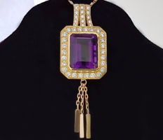 Large & heavy 18 kt Pendant with Amethyst & Diamonds - 16.34 carat  -!! NO RESERVE PRICE !!-