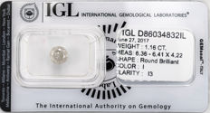 1.16 ct brilliant cut diamond  I  I3