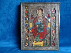 Icon with copper riza, Madonna with child - Russia - 20th century