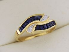 18 kt yellow GOLD ring, sapphires and diamonds – Size: 54 – easily resizable