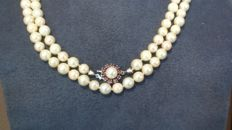 Akoya cultivated pearl necklace with a 585 white and yellow gold clasp with 10 rubies and a pearl