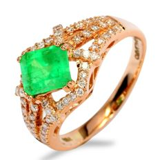 1.14ct Colombian Emerald 18K Pink Rose Gold 3.92gram Diamond Ring Europe Size 53 (No Reserve)