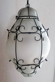 Large Venetian lamp - matt glass with metal - Italy - Second half of the 20th century