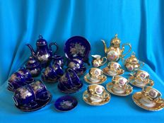 2 x Mocha dinnerware set combined 40 pieces, 15 gold + spoon and 25 purple porcelain. [Gold is from Bavaria].