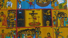 "Hunger canvas ""Christ in the mystical winepress"" - Alemayehu Bizuneh - Ethiopia 1978"