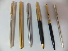 Superb lot of 6 Pens: 1 Louis Cartier Roller Ball Limited Edition 454/888 - 3 Sheafer Steel, Sterling Silver and Gold plated & 2 pens in 925/1000 Silver