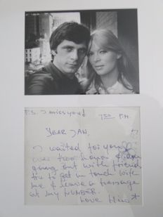 Nico and Jan Cremer - A small letter by Popicon Nico to the Dutch Author Jan Cremer - Signed