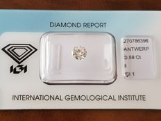 Round cut diamond, 0.58 ct, I Si1