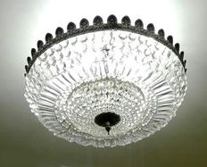 Large ceiling lamp with crystal tears and brass, mid 20th century.