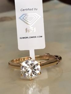 Stunning 14 kt yellow gold solitaire women's ring with brilliant cut diamond, 1.00 ct, G/H/VS1
