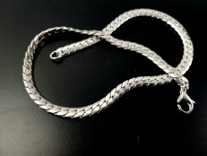 925 silver flat curb link necklace - 42 cm
