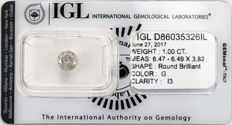 1.00 ct brilliant cut diamond  G  I3