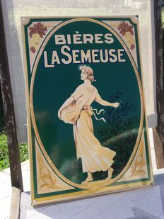 "Enamel sign ""Bieres LA SEMEUSE"", from the 1950s-60s"