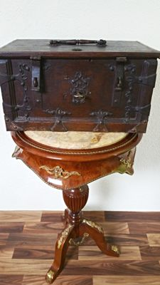 Fine antique oak chest/box with fittings, Germany