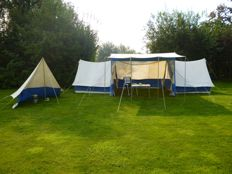 A rare vintage, custom-made 'Indiana' tent with a cooking tent - Mid-century; 1950s/60s