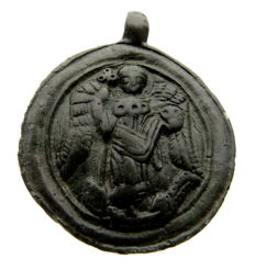 Medieval Pendant Depicting Jormungand and St Michael in Boat - 50 mm