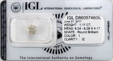 1.17 ct brilliant cut diamond  I I2