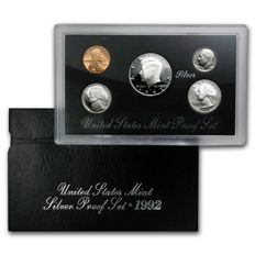 USA - US Mint - 1992 - Silver - Proof Set - Silver Coin Set: Kennedy Half Dollar - Roosevelt Dime - Lincoln Cent - Jefferson Nickel - 5 Coins - Rare