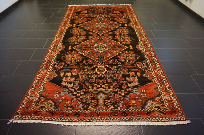 Rare, beautiful hand-knotted Persian carpet Heriz Karadja plant dyes 170X335 cm cleaned very good