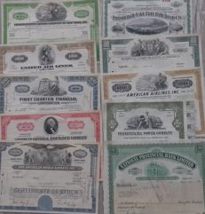 U.S.A. lot of 30 different pieces Bonds and Shares-all with image