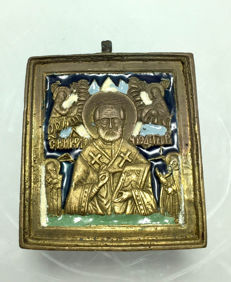 19th Century antique Russian bronze enamel icon of ST. NICHOLAS