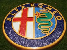 ALFA ROMEO Large unique handmade sculpting logo made from wood - diameter 43,5 cm